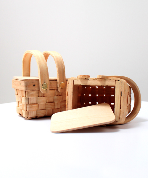 Miniature Woven Picnic Basket Set Of 6 Ecopartytime