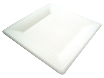 "Compostable Bagasse 8"" White Square Plate - Pack of 50"