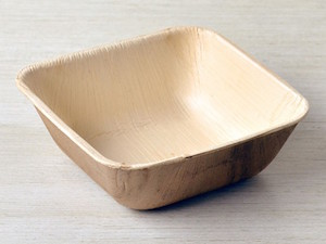 "Square 5"" High Rim Palm Leaf Bowls - Pack of 25"