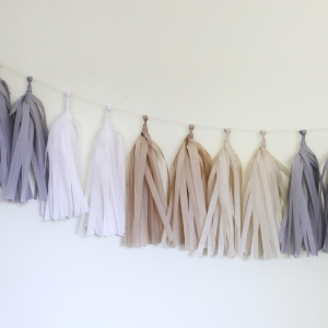 Natural Tissue Paper Tassel Garland - 6' Long