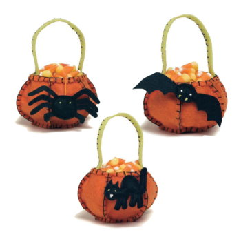 Pumpkin With Charms Felt Treat Bags (Set of 3)