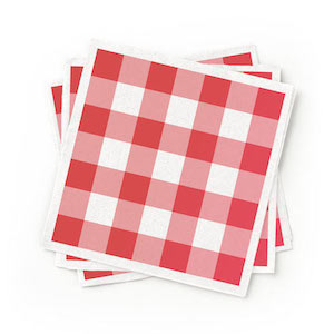 Recycled Red Patterned Cocktail Napkins - Pack of 200