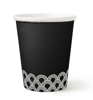 Black Patterned Paper Hot/Cold Cup - 10 oz. - Pack of 12