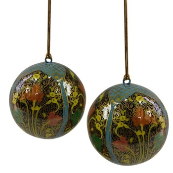 Fair Trade Blue Hope Papier-Mache Ornaments - Set of 2