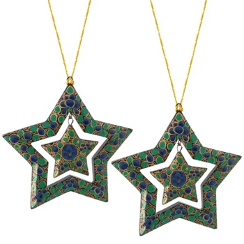 Fair Trade Papier-Mache Double Star Ornaments - Set of 2