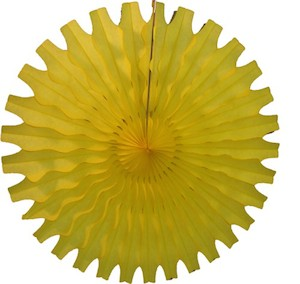 "Yellow Honeycomb 18"" Tissue Fan Decoration"