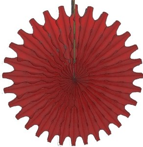 "Red Honeycomb 18"" Tissue Fan Decoration"