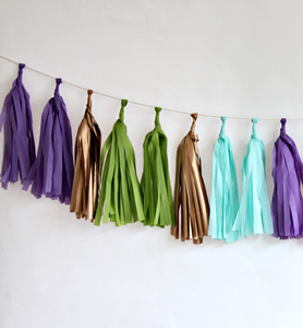 Orchid Tissue Paper Tassel Garland - 6' Long-Only 2 Left in stock