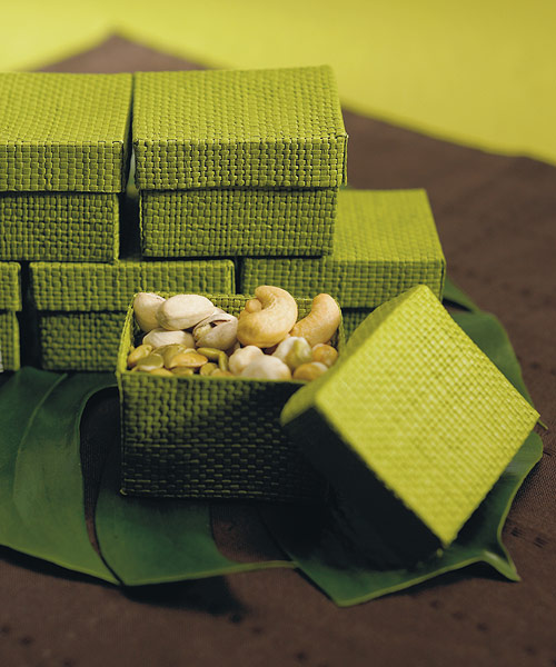 Organic Green Two Piece Woven Favor Boxes - Set of 6 - as low as $5.98