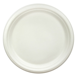 "Compostable Bagasse 9"" White Round Plate - Pack of 50"