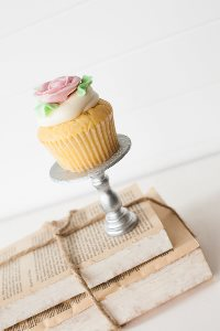 Mini Wooden Cupcake Stand - Silver