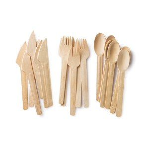 Bambu All Occasion Veneerware Knives, Forks, Spoons (8 forks, 8 knives and 8 spoons)
