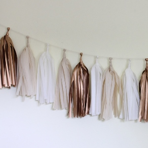 Rose Tissue Paper Tassel Garland - 6' Long