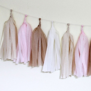 Blushing Tissue Paper Tassel Garland - 6' Long