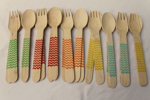 Handpainted Wooden Chevron Fork/Spoon Combo - Pack of 20 - Multiple Colors Available