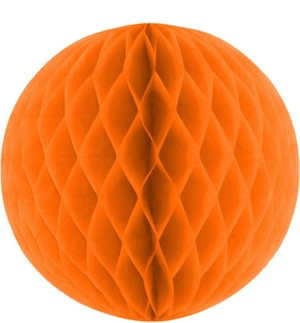 Orange Honeycomb Tissue Ball Decoration - Multiple Sizes Available