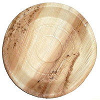 "Packnwood Round 10"" Palm Leaf Plates - Pack of 25 - only 1 pack is left in stock"