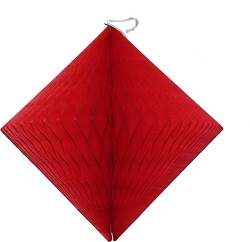 "Red Honeycomb 12"" Tissue Diamond Decoration"