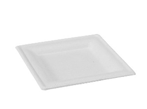 Packnwood Square White Sugarcane Plate - 8 in. - Pack of 25