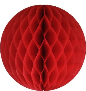 Red Honeycomb Tissue Ball Decoration - Multiple Sizes Available