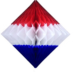 "Patriotic Honeycomb 12"" Tissue Diamond Decoration"