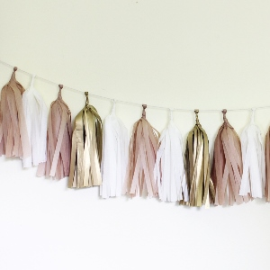 Golden Tissue Paper Tassel Garland - 6' Long