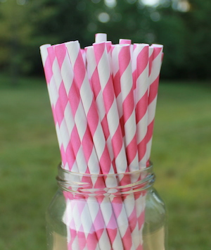 Eco-Friendly Paper Straws - Hot Pink