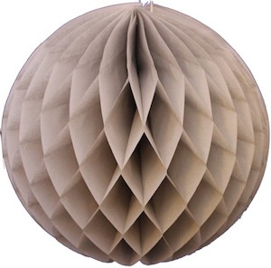 Gray Honeycomb Tissue Ball Decoration - Multiple Sizes Available
