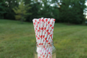 Eco-friendly Paper Straws - Red Hearts