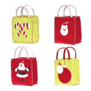 Groovy Christmas Felt Goodie Bags (Set of 4)