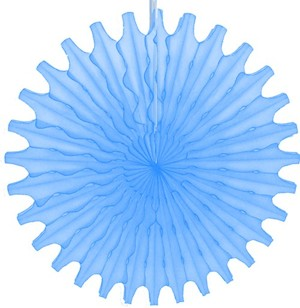 "Light Blue Honeycomb 18"" Tissue Fan Decoration"