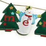 Snowmen and Christmas Trees Merry Christmas Felt Banner-8' long