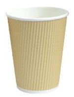 Rippled Khaki Hot cups- 10 oz - pack of 50