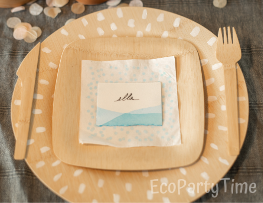 Painted bamboo plate charger-Ecofriendly DIY Baby Shower