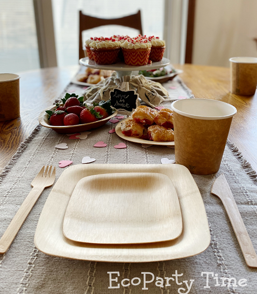 Eco-friendly Valentine Essentials for a Tea Party-plastic free disposable tableware