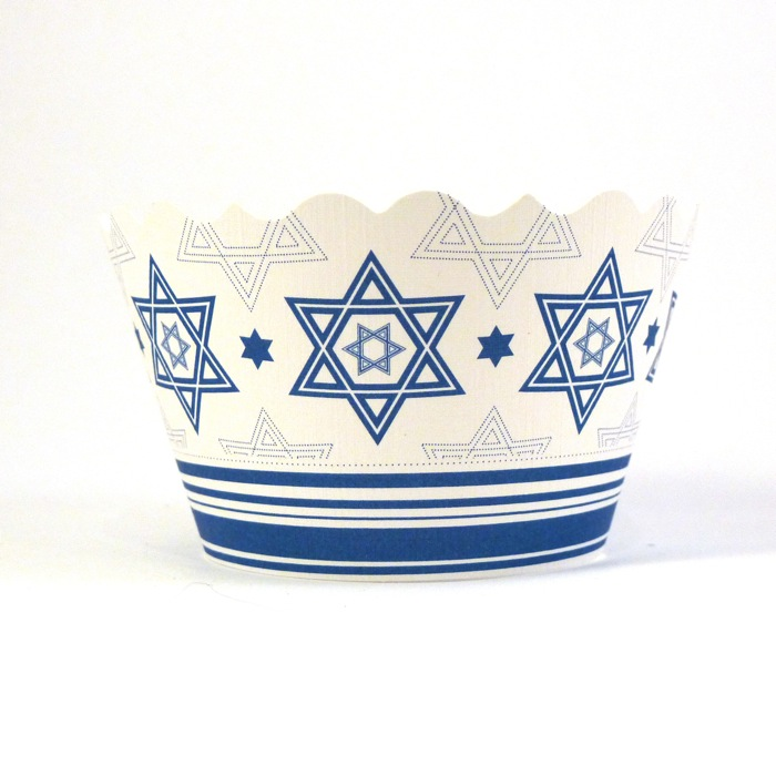 Green Bar and Bat Mitzvahs from Ecopartytime - Star of David Cupcake Wrapper Recycled Linen