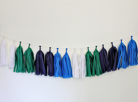 Green Bar and Bat Mitzvahs from Ecopartytime - Modern Tissue Paper Tassel Garland