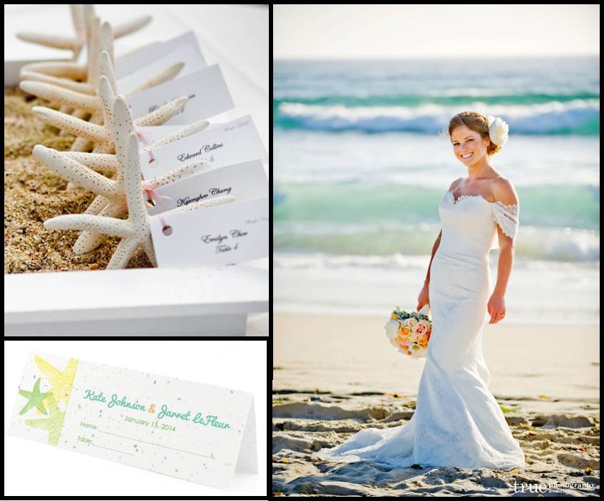 Beach and Nautical Wedding Starfish Place Cards