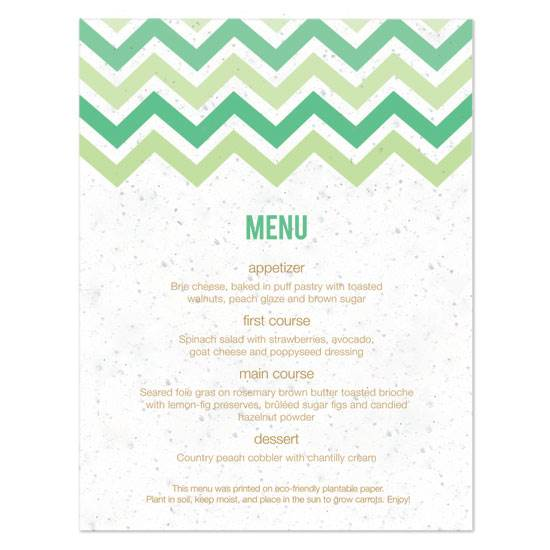 Eco-Chic Celtic Wedding Ideas from Ecopartytime - Green Chevron Wedding Menu Card