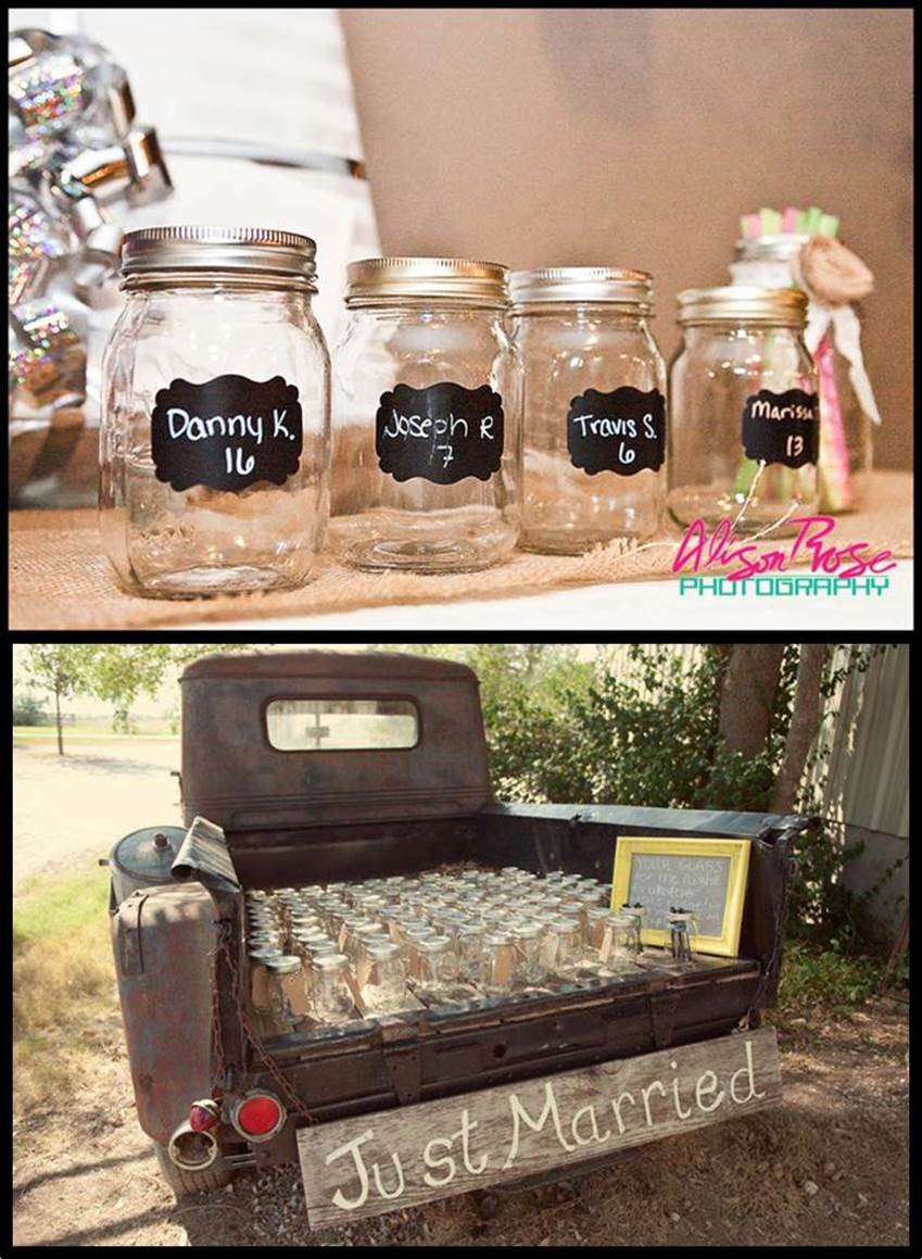 Chalkboard Theme Wedding - Chalkboard Mason Jars as Place Cards