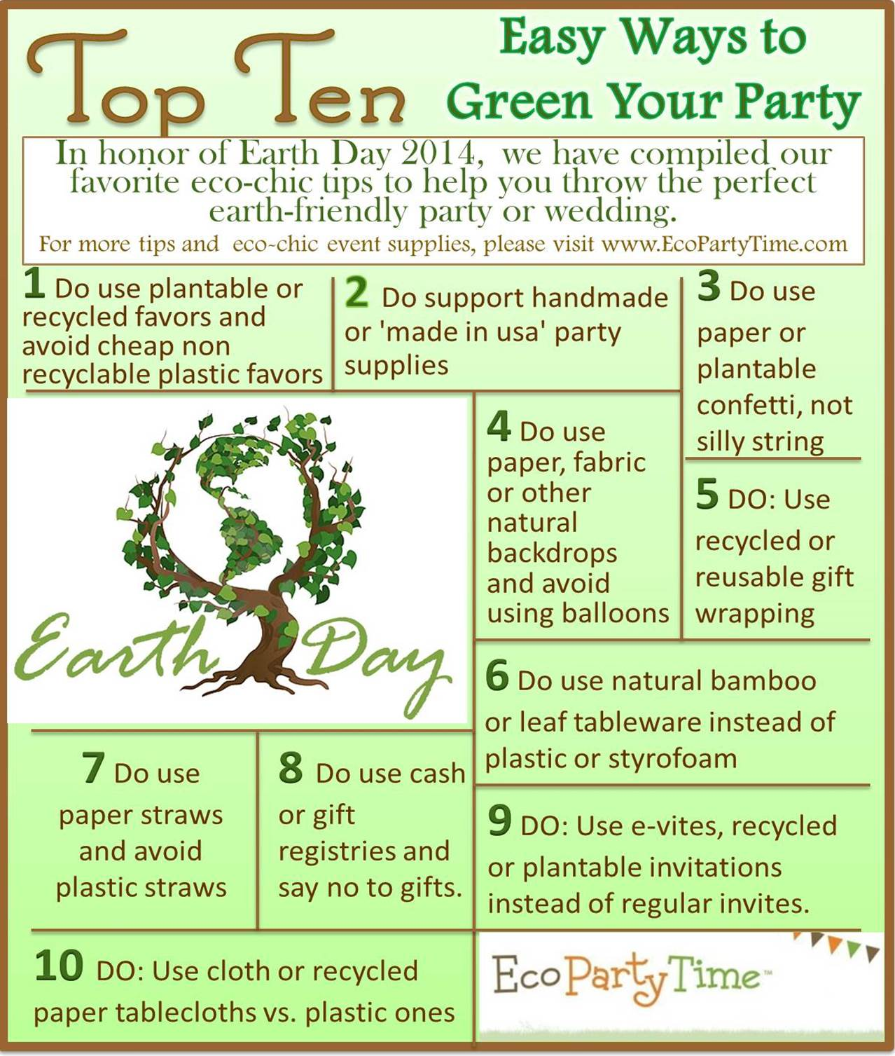Top 10 Earth Day Ways to Green Your Party Ecopartytime.com