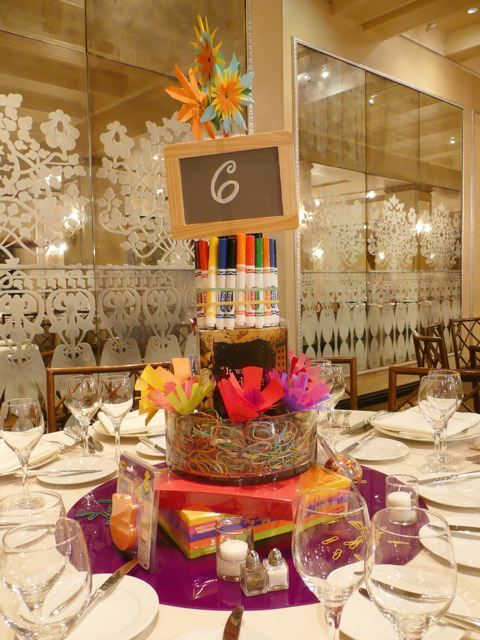 Create a Centerpiece with School Supplies (Markers & Chalk)